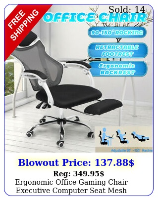 ergonomic office gaming chair executive computer seat mesh recliner footrest u