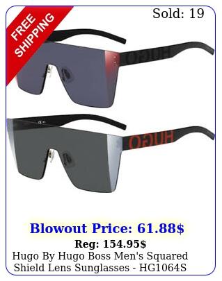 hugo by hugo boss men's squared shield lens sunglasses hg