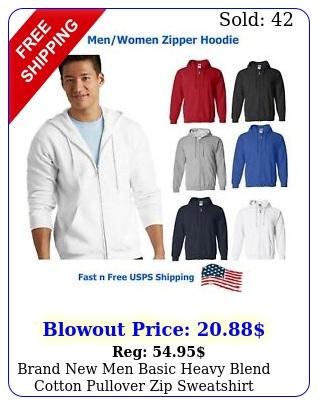 brand men basic heavy blend cotton pullover zip sweatshirt hoodie mx