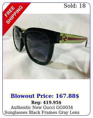 authentic gucci gg sunglasses black frames gray lens green legs gg log