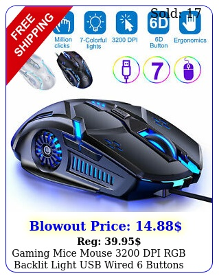 gaming mice mouse dpi rgb backlit light usb wired buttons pc lapto