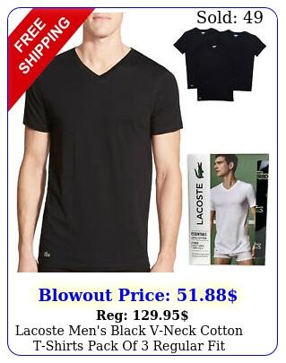 lacoste men's black vneck cotton tshirts pack of regular fit t