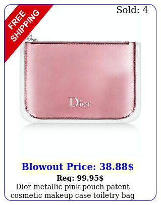 dior metallic pink pouch patent cosmetic makeup case toiletry bag clutch pouc