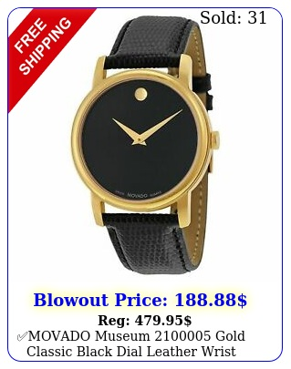 movado museum gold classic black dial leather wrist watch men'