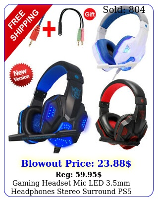 gaming headset mic led mm headphones stereo surround ps ps xbox one ipa