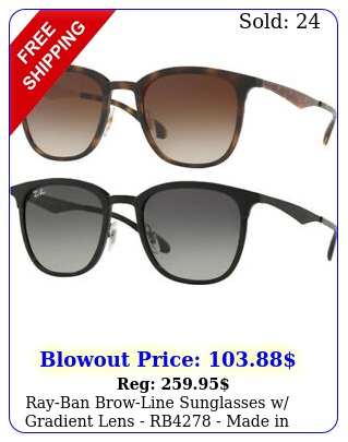 rayban browline sunglasses w gradient lens rb made in ital