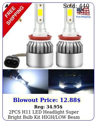 pcs h led headlight super bright bulb kit highlow beam k white fog ligh