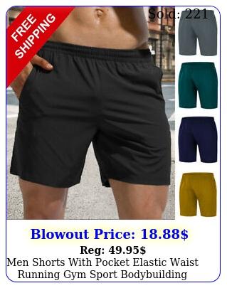 men shorts with pocket elastic waist running gym sport bodybuilding casual pan