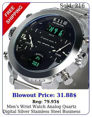 men's wrist watch analog quartz digital silver stainless steel business luxur