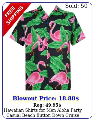 hawaiian shirts men aloha party casual beach button down cruise vacation fu