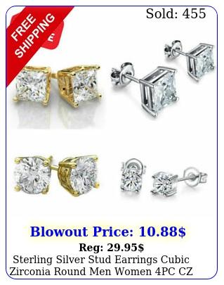 sterling silver stud earrings cubic zirconia round men women pc cz earrings se