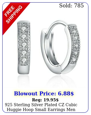 sterling silver plated cz cubic huggie hoop small earrings men women
