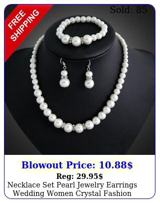 necklace set pearl jewelry earrings wedding women crystal fashion bridal pendan