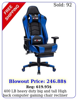 lb heavy duty big tall high back computer gaming chair recliner footres