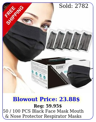 pcs black face mask mouth nose protector respirator masks with filte
