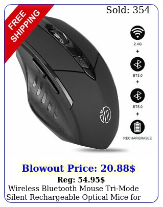 wireless bluetooth mouse trimode silent rechargeable optical mice laptop p