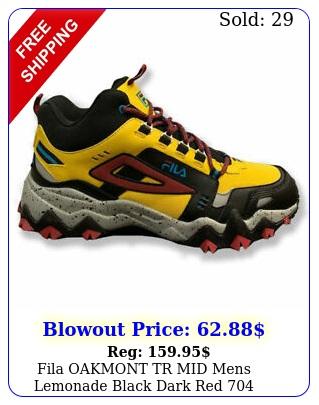 fila oakmont tr mid mens lemonade black dark red athletic sneaker shoe