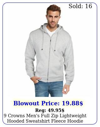 crowns men's full zip lightweight hooded sweatshirt fleece hoodi