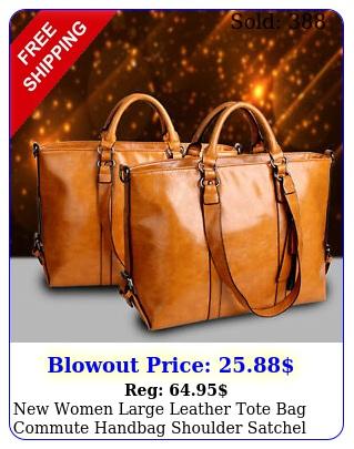 women large leather tote bag commute handbag shoulder satchel bag elegan