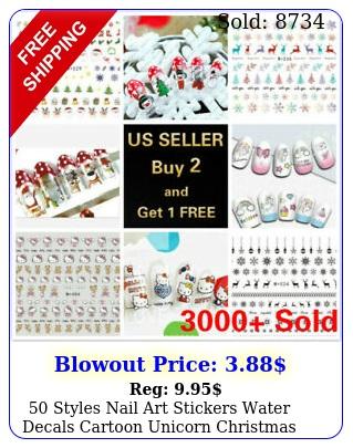 styles nail art stickers water decals cartoon unicorn christmas hallowee