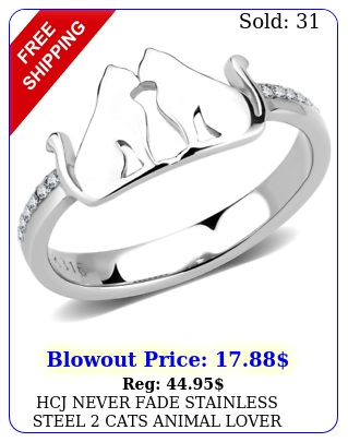 hcj never fade stainless steel cats animal lover fashion ring size