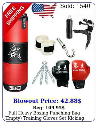 full heavy boxing punching bag empty training gloves set kicking workout gy