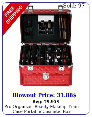 pro organizer beauty makeup train case portable cosmetic wcompartmen