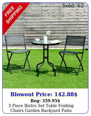 piece bistro set table folding chairs garden backyard patio outdoor furnitur