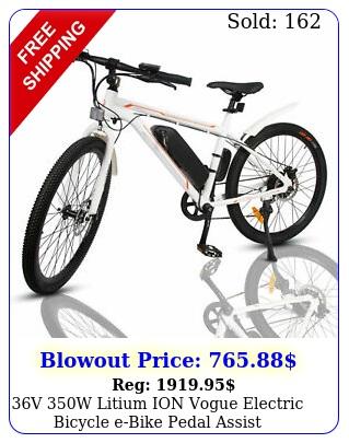 v w litium ion vogue electric bicycle ebike pedal assist removable batter