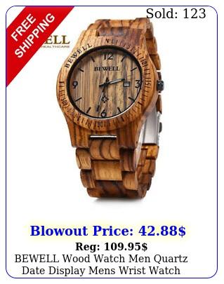 bewell wood watch men quartz date display mens wrist watch wooden band w