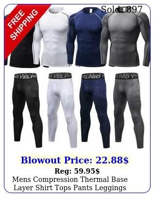 mens compression thermal base layer shirt tops pants leggings long gym quick dr
