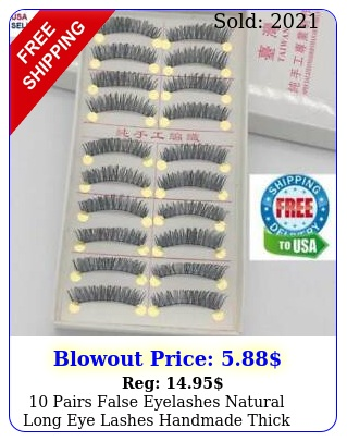 pairs false eyelashes natural long eye lashes handmade thick black makeup se