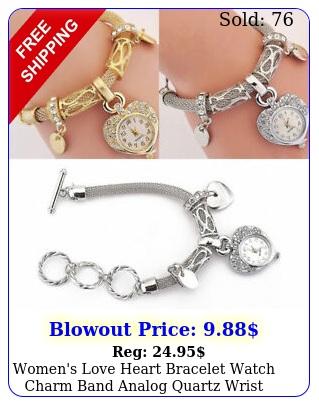women's love heart bracelet watch charm band analog quartz wrist watc