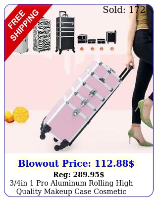 in pro aluminum rolling high quality makeup case cosmetic organizer trolle