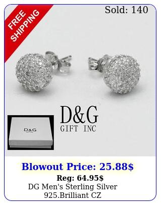 dg men's sterling silver brilliant cz mmroundearringstudsunisexbo