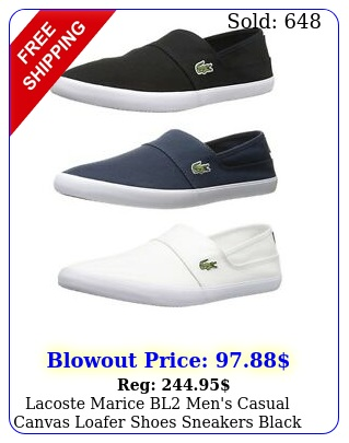 lacoste marice bl men's casual canvas loafer shoes sneakers black blue whit