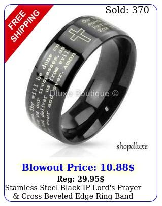 stainless steel black ip lord's prayer cross beveled edge ring band siz
