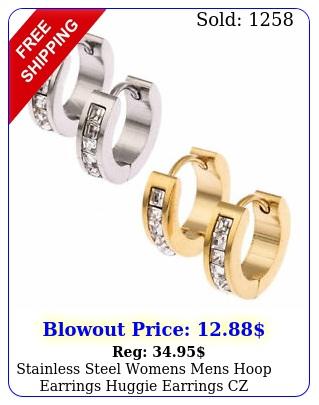 stainless steel womens mens hoop earrings huggie earrings cz piercing