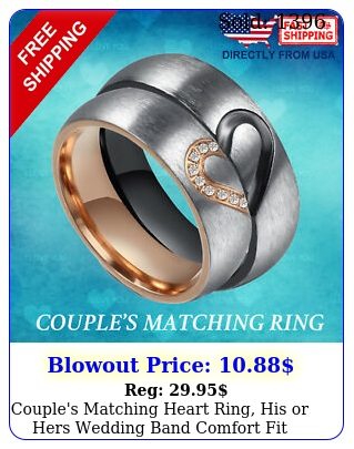 couple's matching heart ring his or hers wedding band comfort fit promise rin