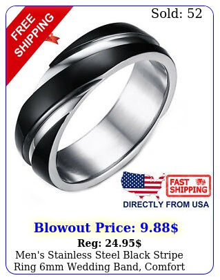 men's stainless steel black stripe ring mm wedding band comfort fi
