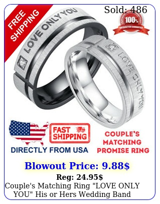 couple's matching ring love only you his or hers wedding band promise rin