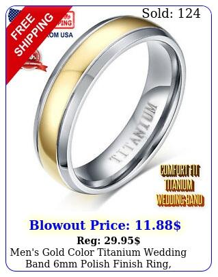 men's gold color titanium wedding band mm polish finish ring comfort fi