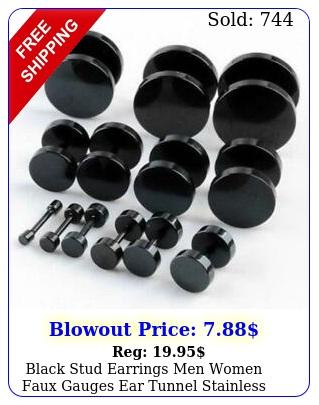 black stud earrings men women faux gauges ear tunnel stainless steel earring
