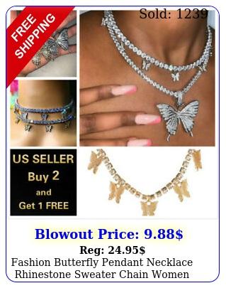 fashion butterfly pendant necklace rhinestone sweater chain women crystal choke