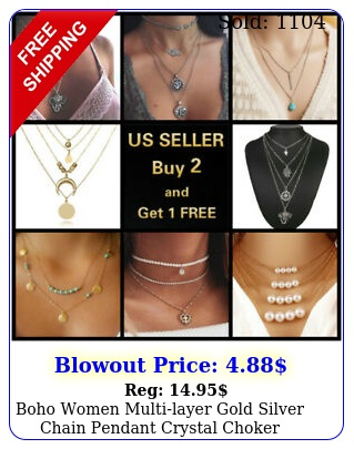 boho women multilayer gold silver chain pendant crystal choker necklace jewelr
