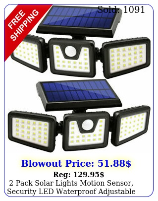 pack solar lights motion sensor security led waterproof adjustable hea