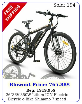 v w litium ion electric bicycle ebike shimano speed removable batter