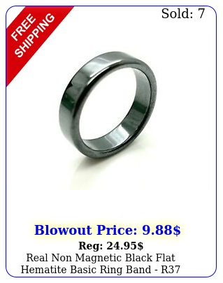 real non magnetic black flat hematite basic ring band