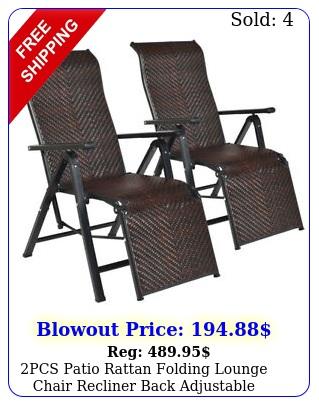 pcs patio rattan folding lounge chair recliner back adjustable beach yard poo