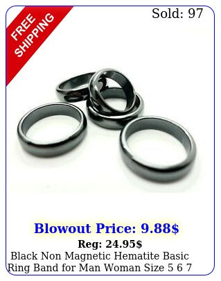 black non magnetic hematite basic ring band man woman size